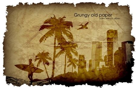 grungy old paper with palm trees and the urban surfer Vector