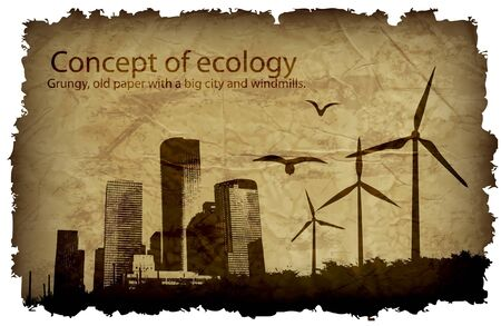 grungy, old paper with a big city and windmills  concept of ecology Vector