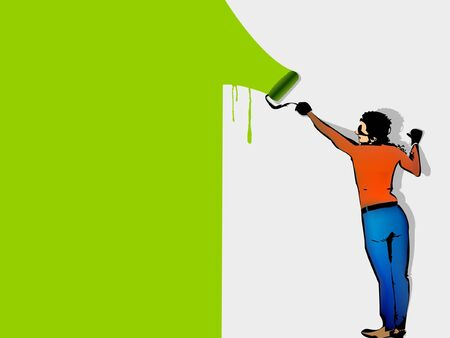 man paints the wall by roller Stock Vector - 14536060