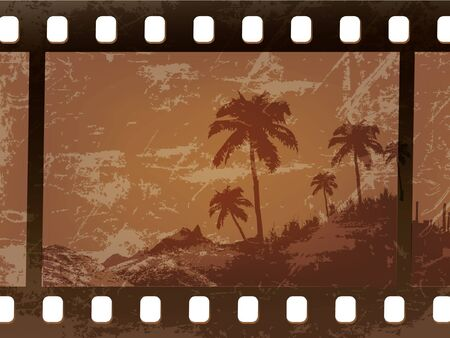 old palm trees frame the film, the film worn Vector