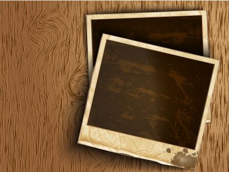 front desk: old photos from rubbing on a wooden background