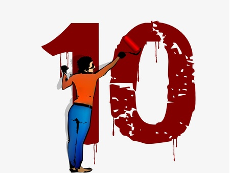 person draws on the wall of the number ten Vector