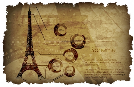 scheme on the old paper Eiffel Tower Vector