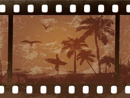 vintage photo album: silhouette of a surfer with palm trees on an old, scratched film Illustration
