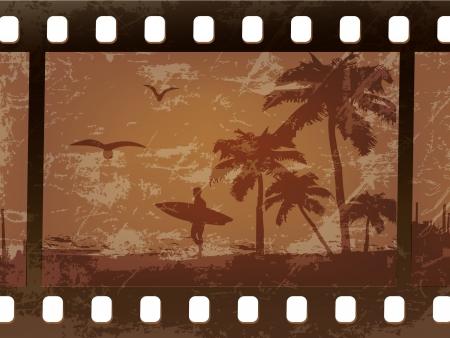chica surf: silueta de una persona que practica surf con palmeras en una vieja pel�cula, rayado