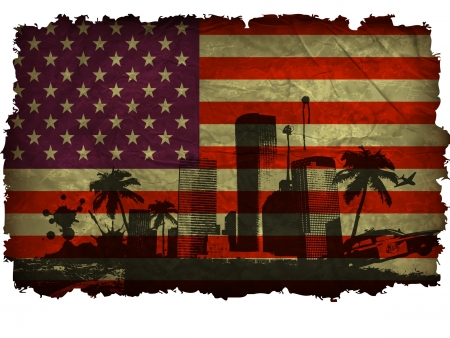 national monuments: urban cities with large palm trees on an old American flag Illustration