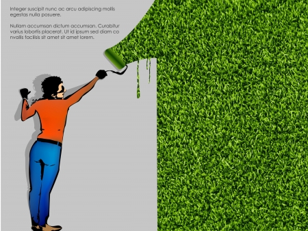 enginery: ecological concept of grass with a painter Illustration