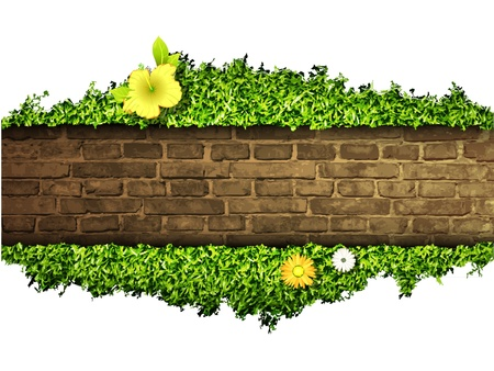 environmental background of the banner, grass and brick