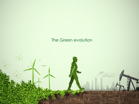 evolution of the concept of greening of the world Illustration