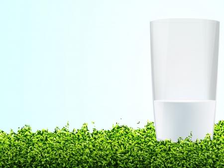 margriet: Glas Melk In Gras En Blauwe Hemel, Vector Illustratie Stock Illustratie