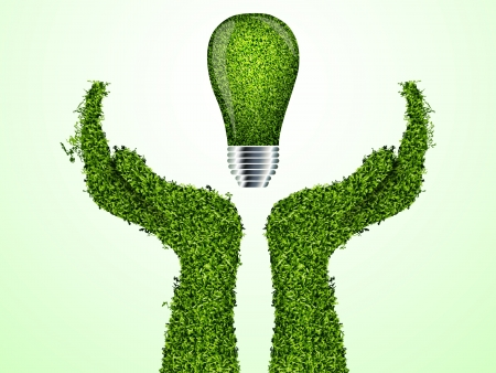 Hands holding green ecology light bulb, vector icon Illustration