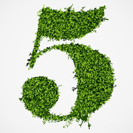 Number five grass texture  Vector illustration