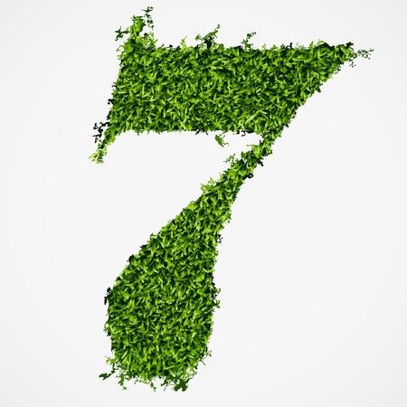 number seven: Number seven grass texture  Vector illustration