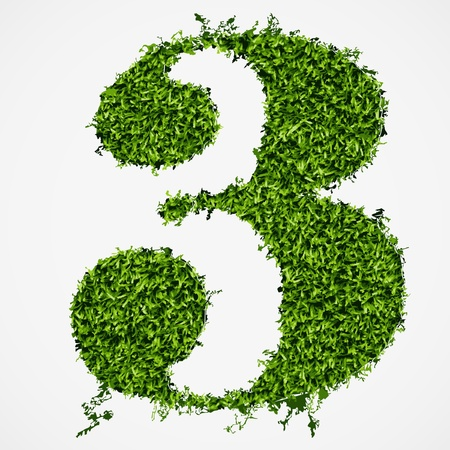 Number three grass texture  Vector illustration