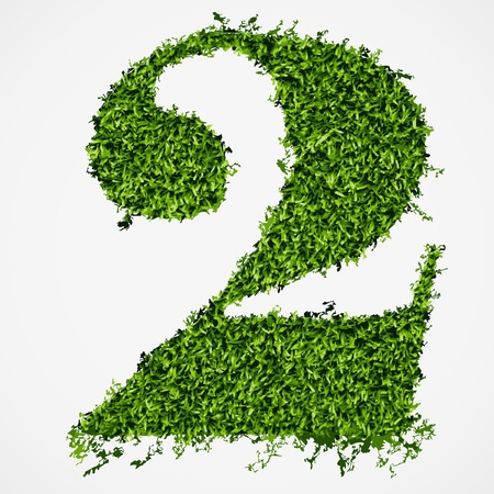 types: Number two grass texture  Vector illustration