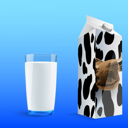painted glass of milk with a carton of milk, a cow, spots Stock Vector - 14810049