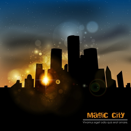 The city at sunset Stock Vector - 14809978