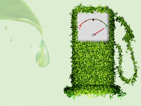 fossil fuel: the concept of ecological fuel  Green fuel pump out of the grass Illustration