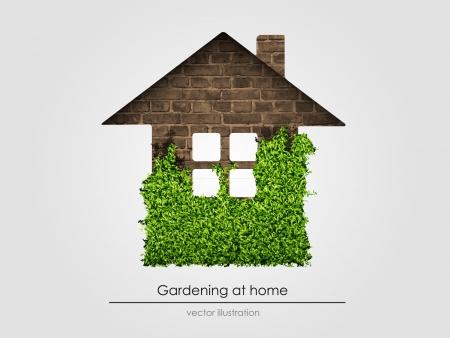 haus garten: das Konzept der Gartenarbeit zu Hause Vektor-Illustration Illustration