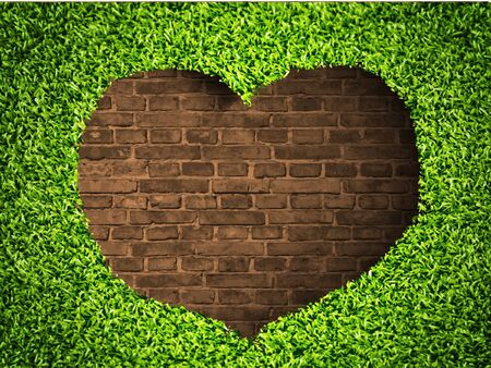 the heart of the grass on a brick background Stock Vector - 14810008