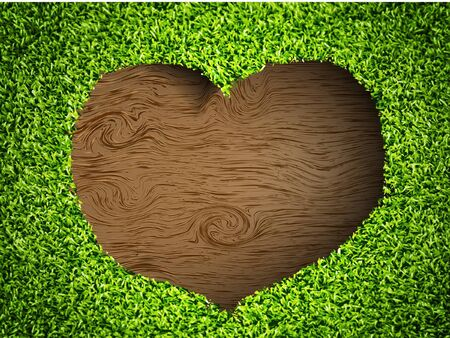 the heart of the grass on a wooden background Stock Vector - 14810033