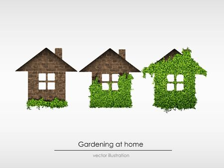 the process of gardening at home  concept of ecology  vector illustration