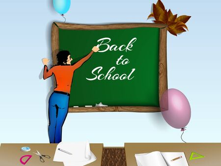 Back to school The beautiful teacher illustration Vector