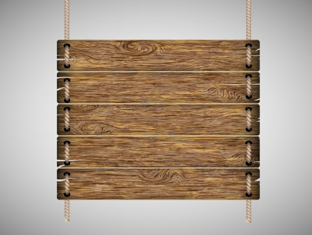 wooden post: blank wooden sign hanging on a rope