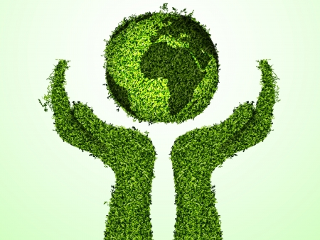 clean sky: caring for the environment, arms out of the grass with a green globe  The concept of ecology