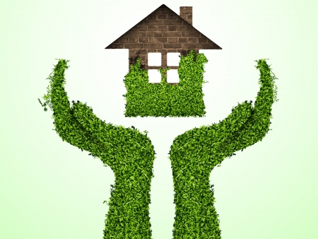 caring for the environment, arms out of the grass with a green home  The concept of ecology Stock Vector - 15500770