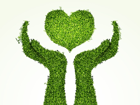 woman holding sign: caring for the environment, arms out of the grass with his heart  The concept of ecology
