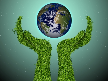 caring for the environment, arms out of the grass with a green globe  The concept of ecology Vector
