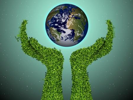 amistad: cuidado del medio ambiente, los brazos de la hierba con un globo verde El concepto de ecología