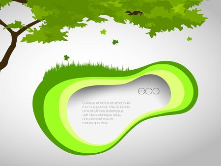 saturate: green, natural banner with grass and leaves Illustration