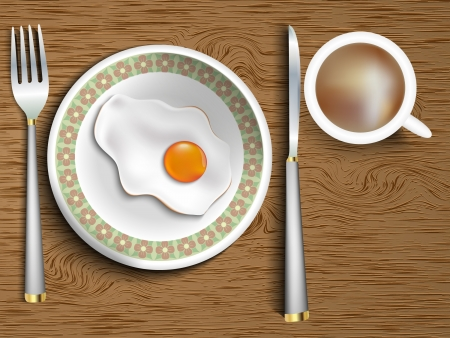 bacon art: eggs in a bowl with the instruments and a cup of coffee on a wooden table