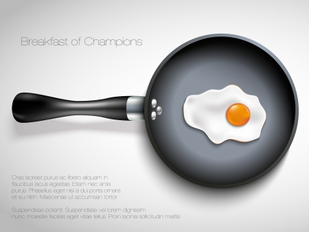 frying pan: Frying pan with egg illustration