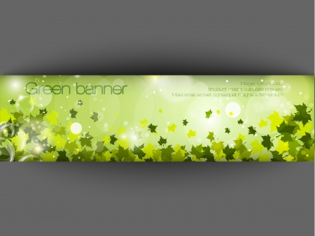 green banner with grass and leaves Vector