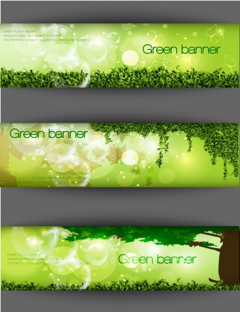 brick road: green banner with grass and leaves