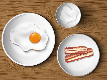 morning breakfast  scrambled eggs, bacon, mayonnaise Vector