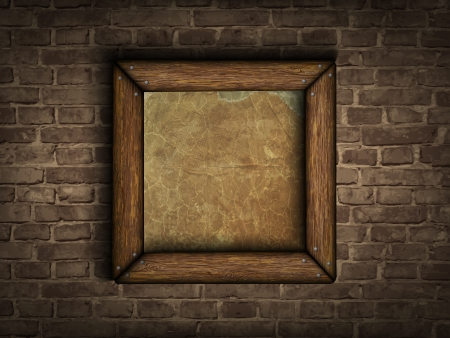 old frame on a brick wall Vector