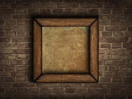 matting: viejo marco en una pared de ladrillo