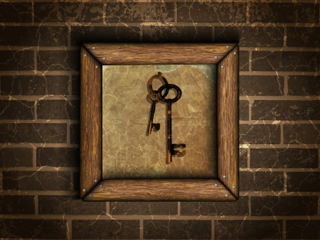 old keys in the old frame on a brick wall Vector