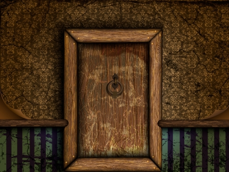 oude houten deur in de vintage kamer Vector Illustratie