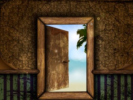 portone: Aprire la porta di legno con la vista verso il mare e la spiaggia Vettoriali