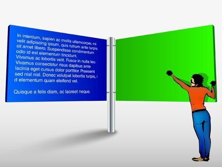trade show: Vector blank trade show booth for designers with men Illustration