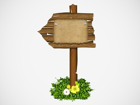 fence post: Wooden sign on a grass with mushrooms  vector illustration Illustration