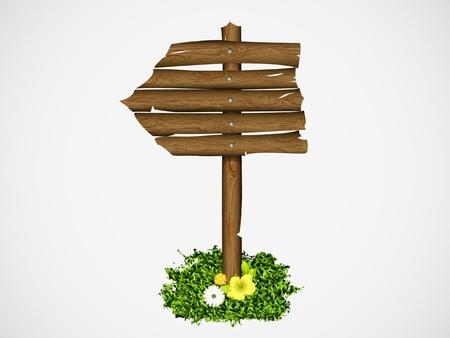Panneau en bois sur une herbe avec illustration vectorielle champignons