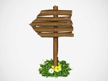Wooden sign on a grass with mushrooms  vector illustration Stock Vector - 15496303