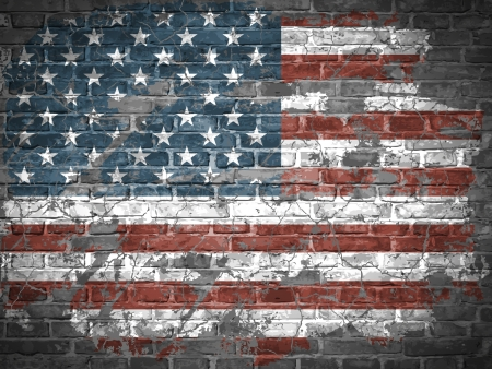 American flag on a brick wall Vector