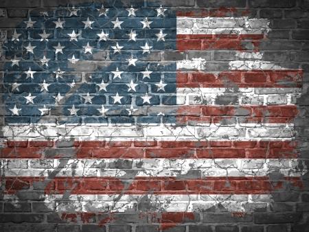 american poster: Bandera americana en una pared de ladrillo